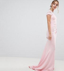Read more about City goddess petite fishtail maxi dress with lace detail - pink 29
