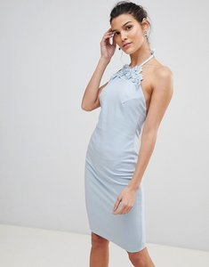 Read more about City goddess halter neck midi dress with flower detail - blue