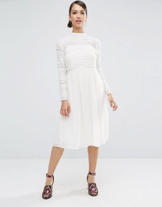 Read more about Asos lace insert midi dress - ivory