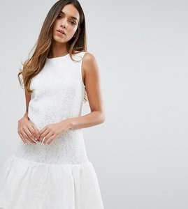Read more about Warehouse bonded lace peplum dress - white