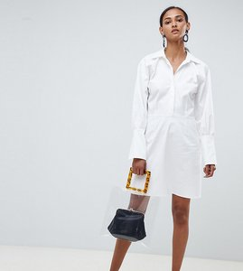 Read more about Asos white tall mini dress in twill - white
