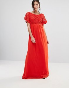 Read more about Traffic people lace capped sleeve maxi dress - red
