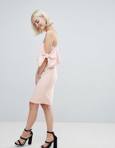 Read more about New look bow sleeve midi dress - nude