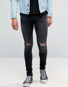 Read more about Asos extreme super skinny jeans with opens rips in washed black - washed black