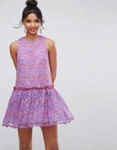 Read more about Asos lace smock drop waist mini dress - purple