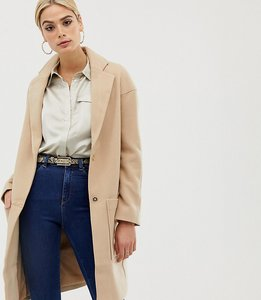 Read more about Asos tall crepe pocket detail coat - camel
