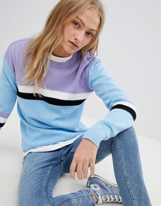 Read more about Daisy street relaxed jumper with colour block stripe - blue multi