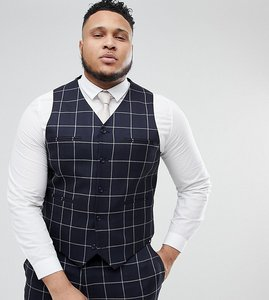 Read more about Asos plus wedding skinny suit waistcoat in navy windowpane check - navy