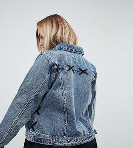 Read more about Zizzi lace detail denim jacket - light blue denim