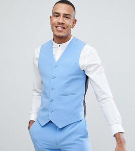 Read more about Asos design tall super skinny suit waistcoat in provonce blue - blue