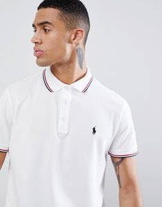 Read more about Polo ralph lauren slim fit tipped pique polo player logo in white - white