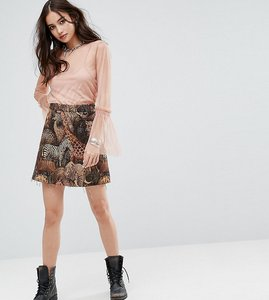 Read more about Reclaimed vintage inspired mini skirt in woven animal tapestry - black
