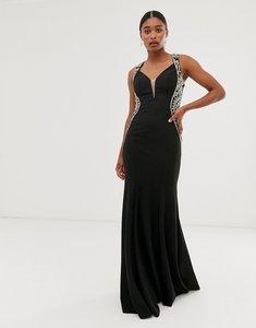 Read more about Jovani v neck maxi dress with side embellished detail