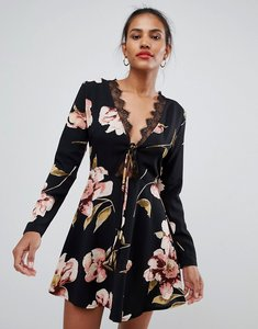 Read more about Missguided floral lace trim skater dress - black