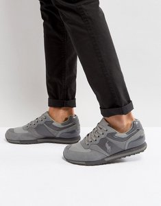Read more about Polo ralph lauren slaton pony trainers suede mesh in grey - regent grey