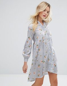Read more about Influence loose peplum blouson sleeve dress - pale blue