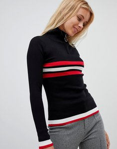 Read more about Qed london horizontal sports stripe half zip turtle neck jumper - black red white