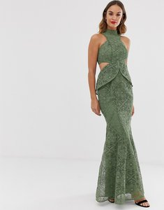 Read more about Asos design high neck lace maxi dress with cut outs and fishtail hem