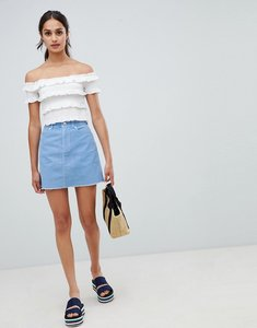 Read more about Miss selfridge cord a-line mini skirt in blue - blue