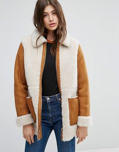 Read more about Asos faux shearling coat - tan