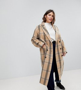 Read more about Asos curve wool coat in check - multi