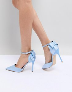 Read more about Chi chi london bow back heels in satin - bluebelle
