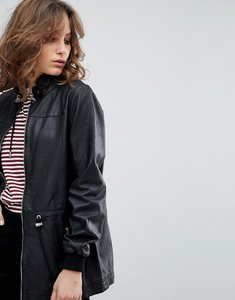 Read more about Selected femme leather jacket with toggles - black