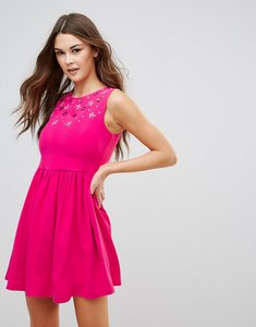 Read more about Qed london skater dress with embellished detail - fuchsia