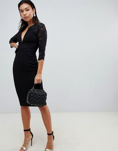 Read more about Asos design lace insert twist front midi dress - black