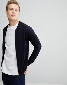 Read more about French connection knitted bomber jacket - navy