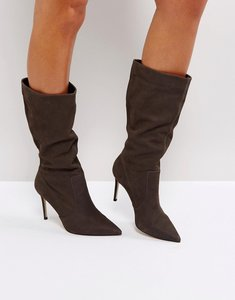 Read more about Carvela special grey suede slouch heeled ankle boots - grey