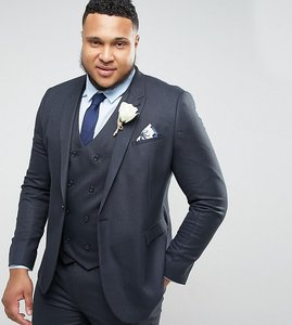 Read more about Asos plus wedding skinny suit jacket in blue micro woven texture - navy