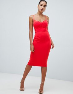 Read more about Rare london mesh panel midi dress - coral