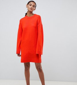 Read more about Asos design tall knitted mini dress in fluffy yarn - tomato