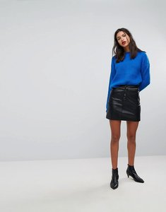 Read more about Mango button front mini skirt with zip pockets - black