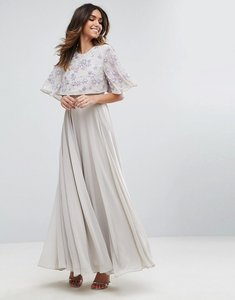 Read more about Asos embellished flutter sleeve maxi dress - grey
