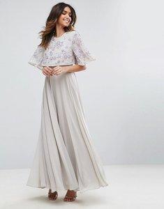 Read more about Asos embellished flutter sleeve maxi dress - grey
