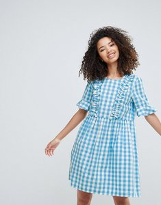 Read more about Vero moda gingham dress with ruffles - multi
