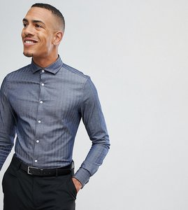 Read more about Asos design tall slim shirt in herringbone with double cuff in navy - navy