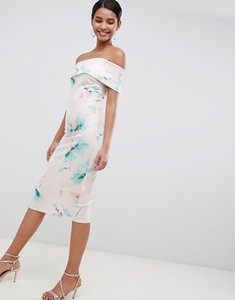 Read more about City goddess floral off shoulder pencil midi dress - pink print