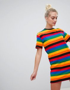 Read more about Daisy street short sleeve t-shirt dress in rainbow stripe - multi stripe