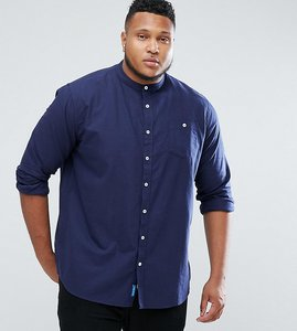Read more about Duke plus oxford shirt with grandad collar in navy - navy