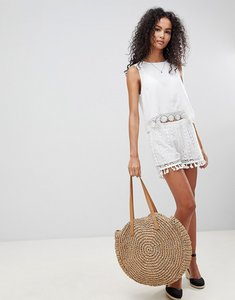 Read more about Brave soul daisy crochet shorts with tassle trim - white