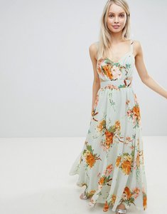 Read more about Asos design maxi dress with side cut out in green floral print - grey floral print