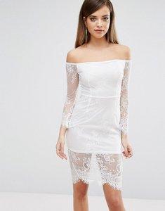 Read more about Club l lace bardot detail midi dress - white