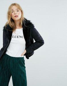 Read more about New look suedette faux fur biker jacket - black