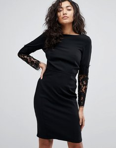 Read more about Paper dolls lace sleeve pencil dress - black