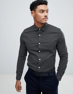 Read more about Asos design smart stretch print ditsy print shirt - black