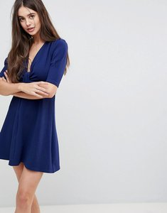 Read more about Ax paris wrap front 3 4 sleeve dress - navy