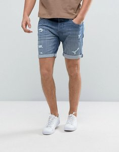 Read more about Selected homme denim shorts with rip repair detail - 1784 washed blue